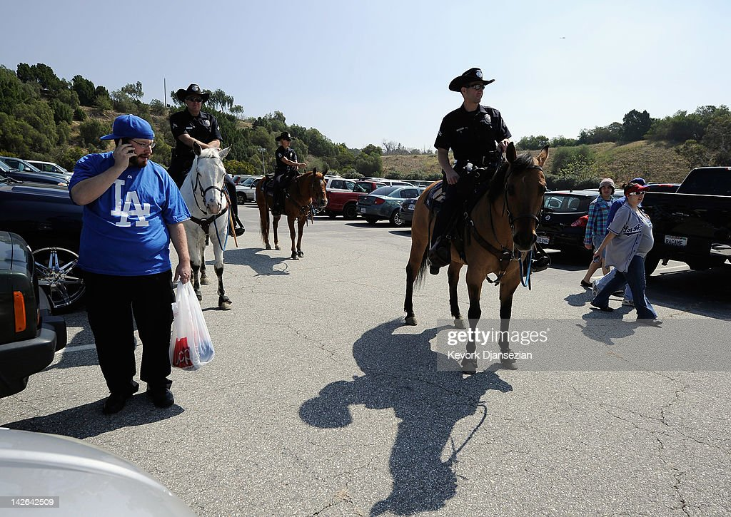 Security High At Los Angeles Dodger's Home Opener Photos and Images | Getty Images