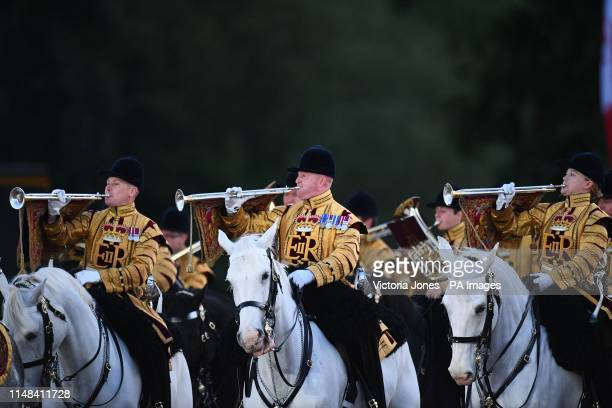 Mounted members of the Household Division during the annual Beating Retreat ceremony, which features over 750 soldiers, on Horse Guards Parade,...