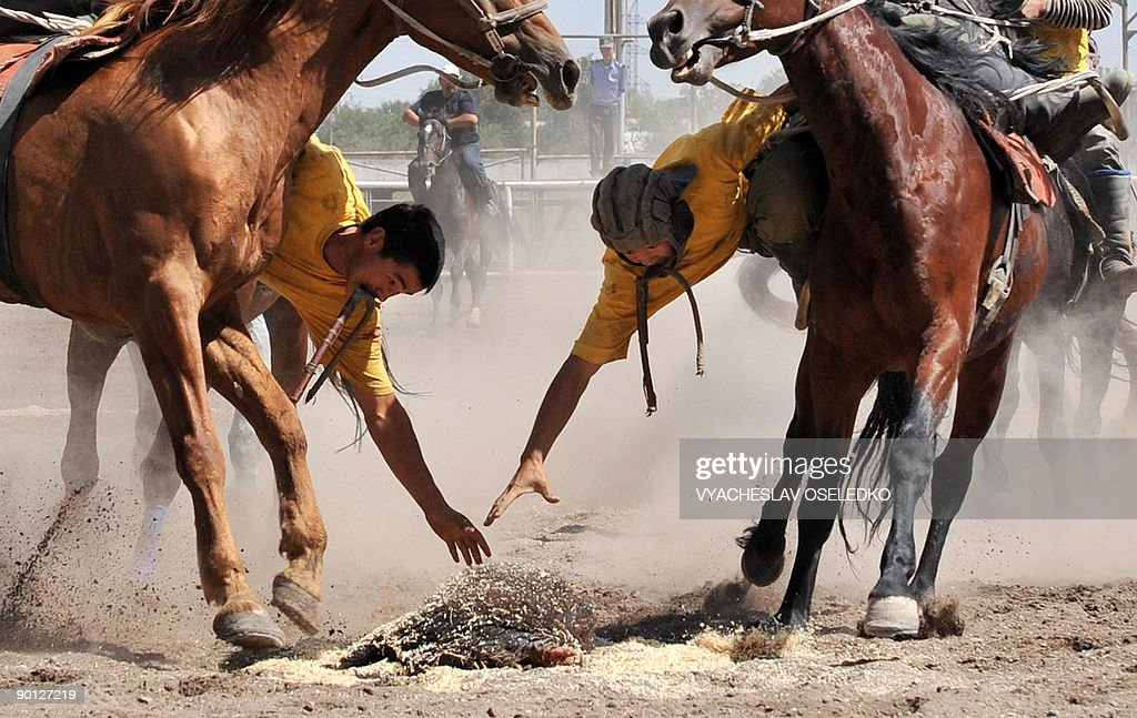 Kok boru, a traditional horse game, is played by two teams on horseback, where players try to move with a goat's carcass