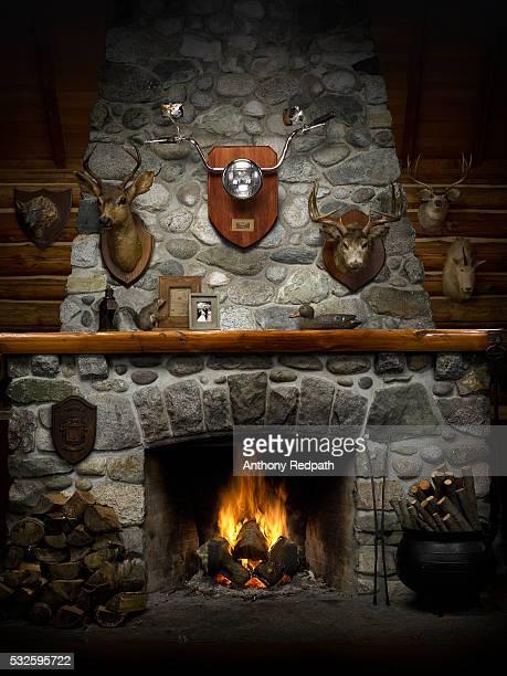 mounted motorcycle handlebars on fireplace with animal heads - opwarmen stockfoto's en -beelden