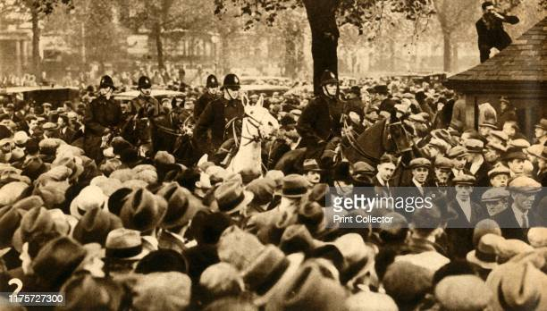 Mounted police and marchers Means Test protests Hyde Park London 'Demonstrators under escort' The National Hunger March of September to October 1932...