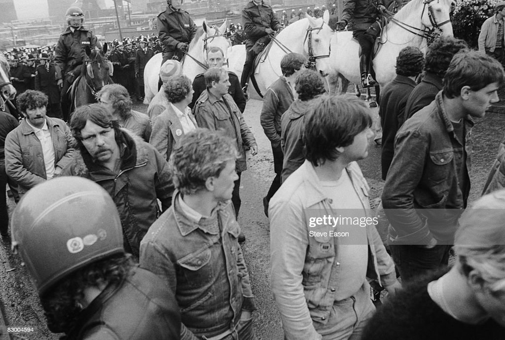 Mounted police and miners at a demonstration at Orgreave Colliery, South Yorkshire, during the miners' strike, 2nd June 1984.