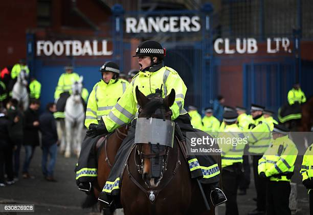 Mounted Police are seen during the Rangers v Celtic Ladbrokes Scottish Premiership match at Ibrox Stadium on December 31 2016 in Glasgow Scotland