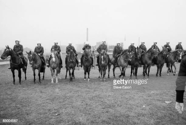 Mounted police at a demonstration at Orgreave Colliery, South Yorkshire, during the miners' strike, 2nd June 1984.