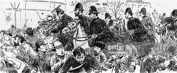 Mounted police charge into the crowds of protestors in Trafalgar Square during the Bloody Sunday riots 13th November 1887