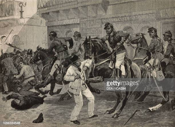 Mounted police clearing Rua do Ouvidor, riot at Rio de Janeiro, Brazil, engraving from The Illustrated London News, No 2756, February 13, 1892.