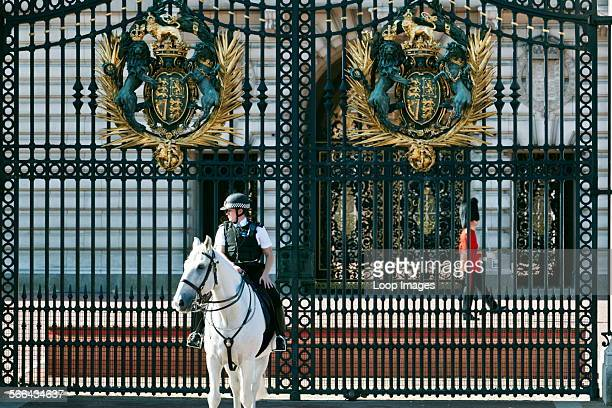 A mounted police officer and a Queen's Guard on duty outside Buckingham Palace