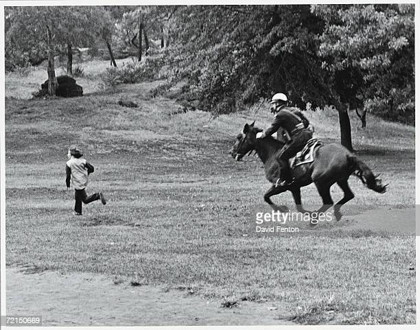 A mounted police officer chases down a teenaged boy who burned an American flag during a Central Park 'bein' to protest the war in Vietnam New York...