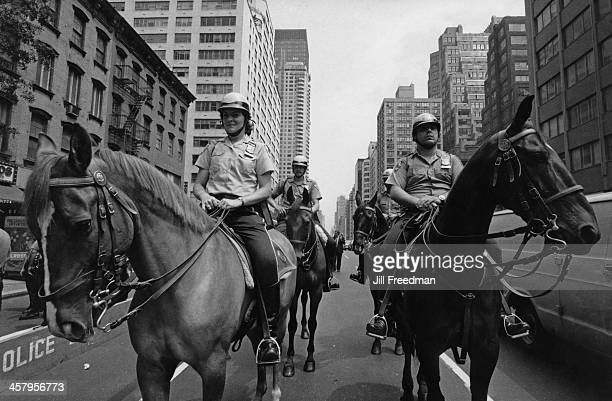 Mounted police officers in Midtown Manhattan New York City 1982