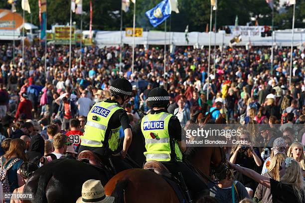 Mounted Police patrol during the 44th Glastonbury Festival of Contemporary Performing Arts wich runs from June 25 to 29 2014 at Worthy Farm in Pilton...