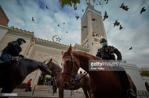 Mounted Police patrol outside the Grand Mosque in Paris during Friday Prayers on October 30, 2020 in Paris, France. The prayers took place under...