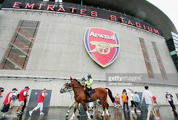 Mounted Police patrol outside the ground prior to kickoff during the Dennis Bergkamp testimonial match between Arsenal and Ajax at the Emirates...
