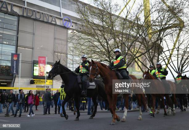 Mounted police patrol outside the stadium prior to the UEFA Champions League Quarter Final first leg match between Borussia Dortmund and AS Monaco at...