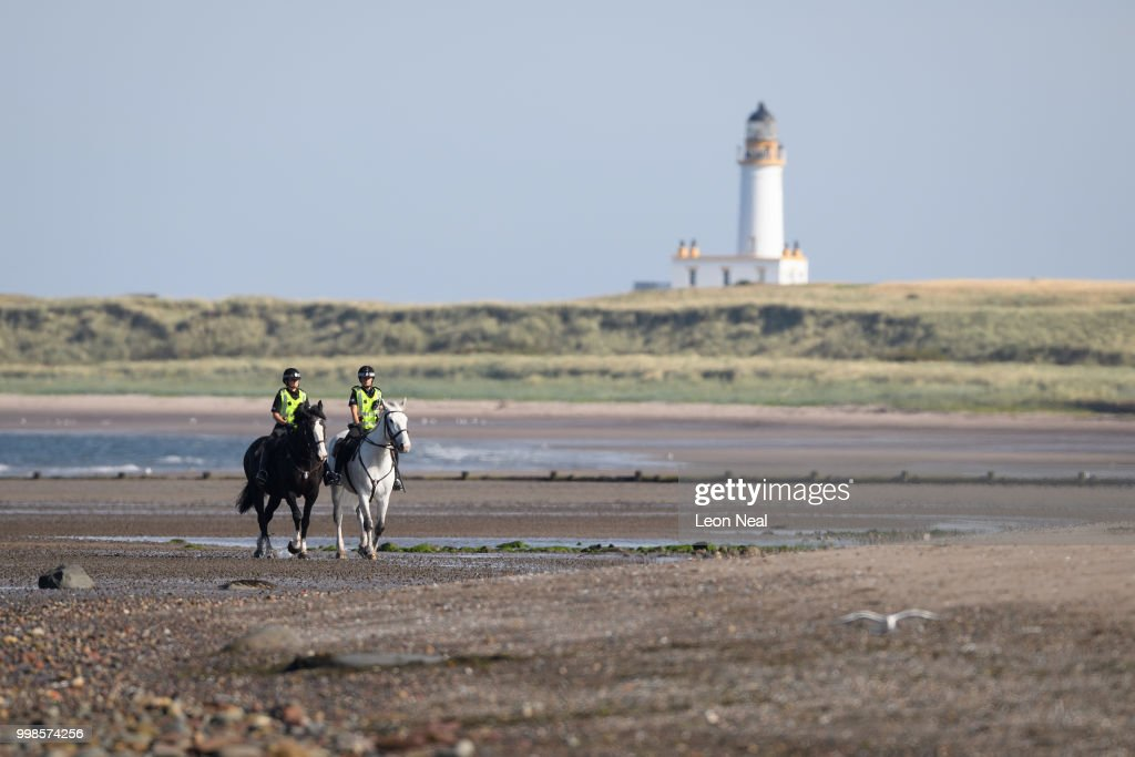 Mounted police patrol the beach outside near Trump Turnberry Luxury Collection Resort during the U.S. President's visit to the United Kingdom on July 14, 2018 in Turnberry, Scotland. The President of the United States and First Lady, Melania Trump on their first official visit to the UK after yesterday's meetings with the Prime Minister and the Queen is in Scotland for private weekend stay at his Turnberry.