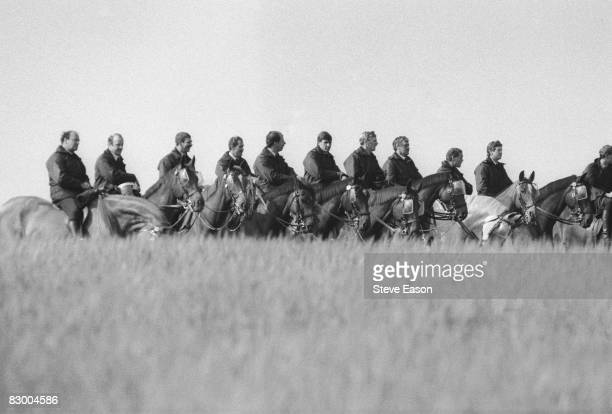 Mounted police standing by at a demonstration at Orgreave Colliery, South Yorkshire, during the miners' strike, 2nd June 1984.