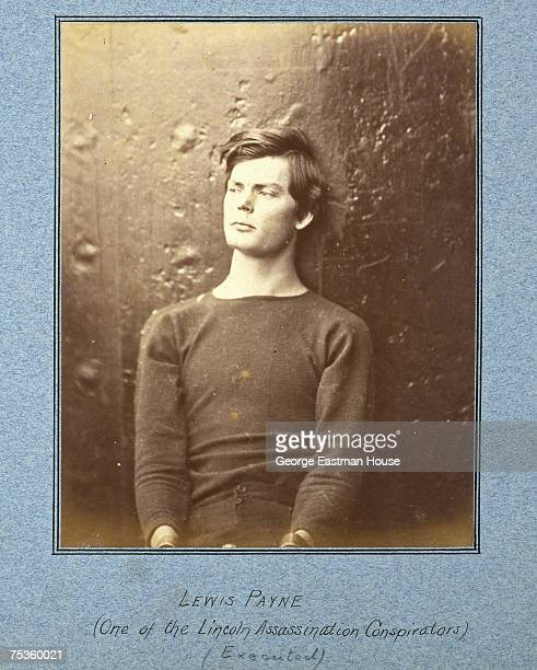 Mounted portrait of Lincoln assassination conspirator Lewis Payne born Lewis Powell with his hands in restraints 1865 Payne was hanged for his part...