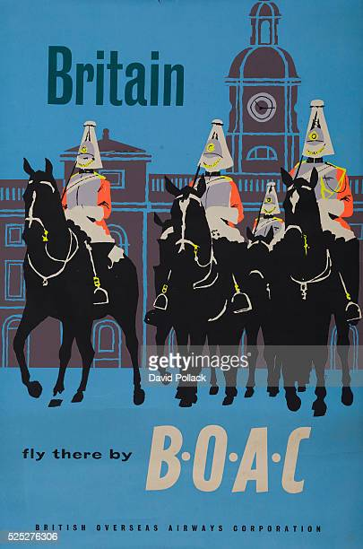Mounted Queen's Guard British Overseas Airways Corporation ca 1960s travel poster
