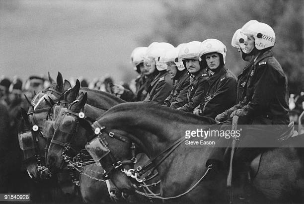 Mounted riot police at the miners' demonstration at Orgreave colliery Yorkshire where miners picketed the mine 2nd June 1984 Soon afterwards the...