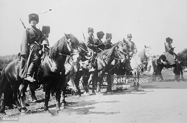 Mounted Russian Cossacks Scan the Battlefield