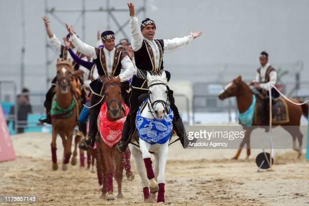 Mounted team of Azerbaijan-Montenegro perform demonstration during the 4th Etnospor Culture Festival held at Ataturk Airport, Istanbul, Turkey on...