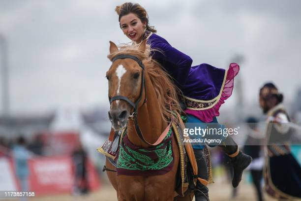 Mounted team of AzerbaijanMontenegro perform demonstration during the 4th Etnospor Culture Festival held at Ataturk Airport Istanbul Turkey on...