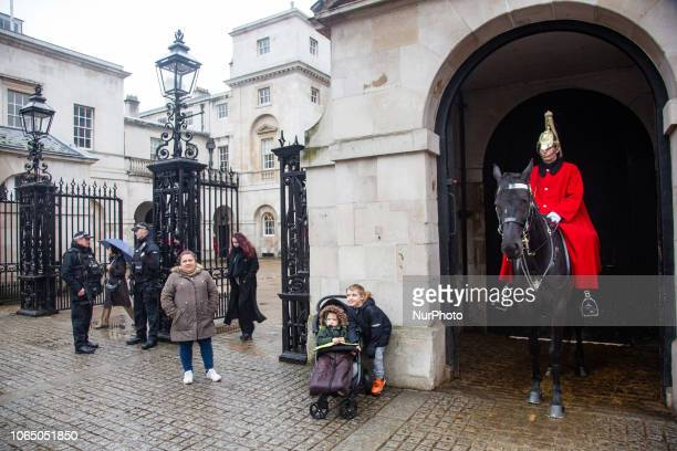 A mounted trooper of the Household Cavalry on duty at Horse Guards off Whitehall in central London England United Kingdom