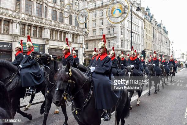 KINGDOM NOVEMBER 09 2019 Mounted troops of the Inns of Court and City Yeomanry on the Strand heading towards appearing in the Lord Mayors Show...
