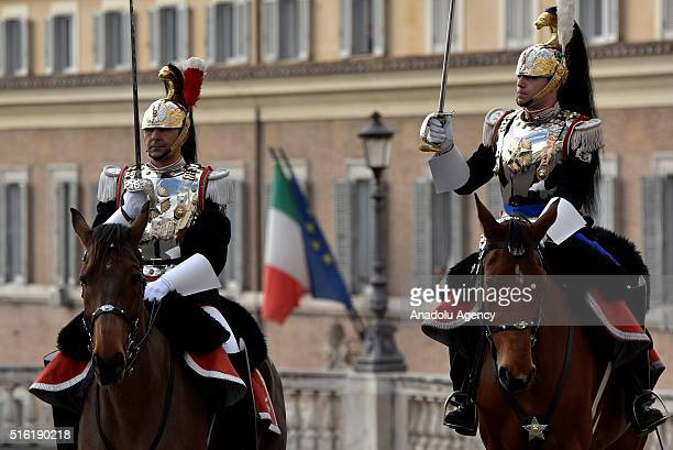 Mounted troops taka a place during the 155th anniversary of the proclamation of the Kingdom of Italy and of the unification of Italy on March 17,...
