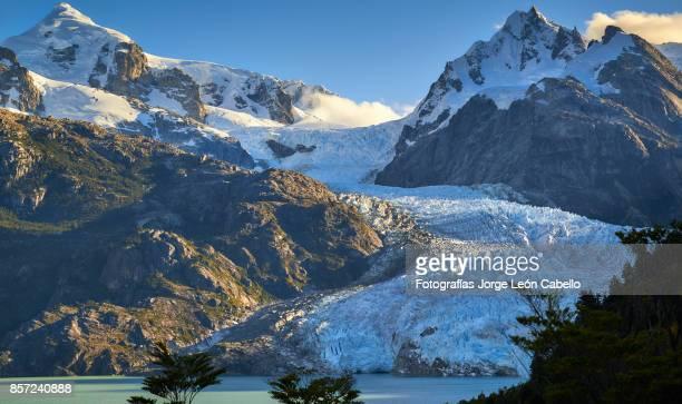 Mounts cerro Hyades and Siniolchu with glacier Los Leones south  in Laguna Sn. Rafael NP