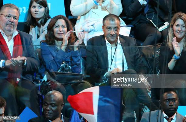 Mourad Boudjellal and his wife Linda Boudjellal attend the campaign rally of French presidential candidate Emmanuel Macron at AccorHotels Arena on...