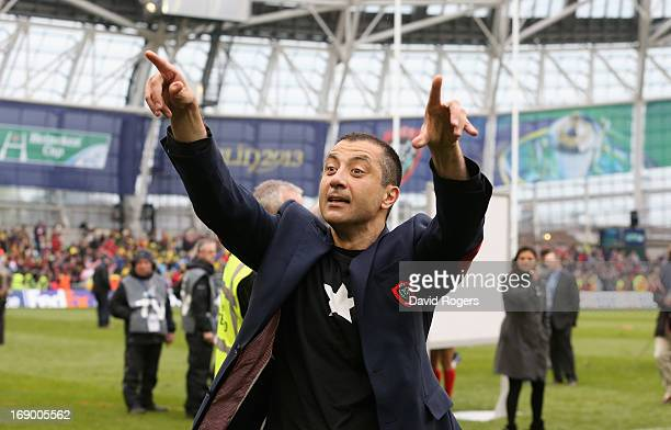 Mourad Boudjellal owner of RC Toulon celebrates their victory during the Heineken Cup final match between ASM Clermont Auvergne and RC Toulon at the...