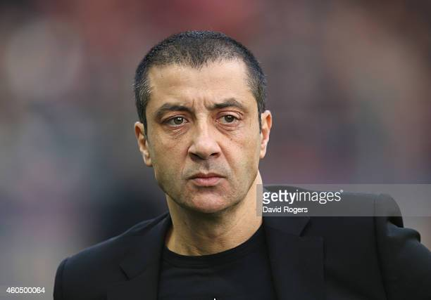 Mourad Boudjellal, owner of RC Toulon looks on during the European Rugby Champions Cup pool three match between RC Toulon and Leicester Tigers at...