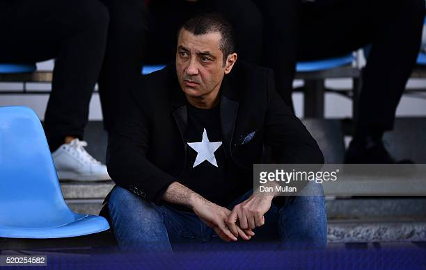 Mourad Boudjellal, Owner of RC Toulon looks on prior to the European Rugby Champions Cup Quarter Final between Racing 92 and RC Toulon at Stade Yves...