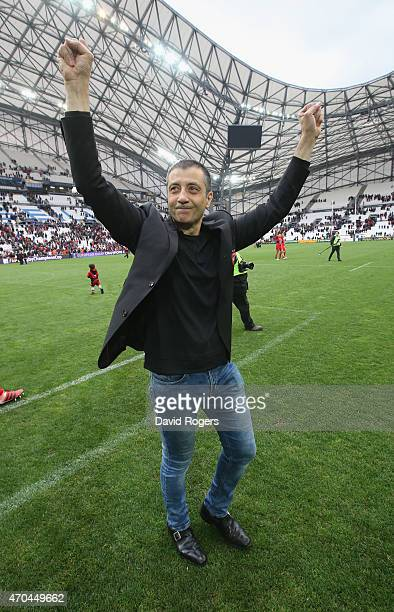 Mourad Boudjellal owner of Toulon celebrates after their victory during the European Rugby Champions Cup semi final match between RC Toulon and...