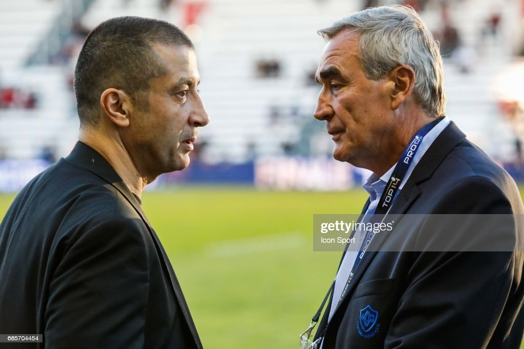 Mourad Boudjellal president of Toulon and Pierre Yves Revo President of Castres during the Top 14 match between RC Toulon and Castres Olympiques on May 19, 2017 in Toulon, France.