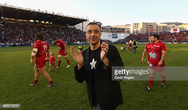 Mourad Boudjellal the owner of Toulon Rugby celebrates after his teams victory during the Heineken Cup quarter final match between Toulon and...