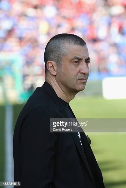 Mourad Boudjellal the owner of Toulon Rugby looks on during the Heineken Cup quarter final match between Toulon and Leinster at the Felix Mayol...
