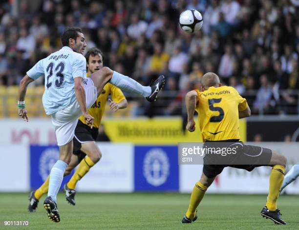 Mourad Meghni of Lazio vies with Elfsborg players Martin Andersson and Helgi Danielsson during the UEFA Europa League playoff second leg football...