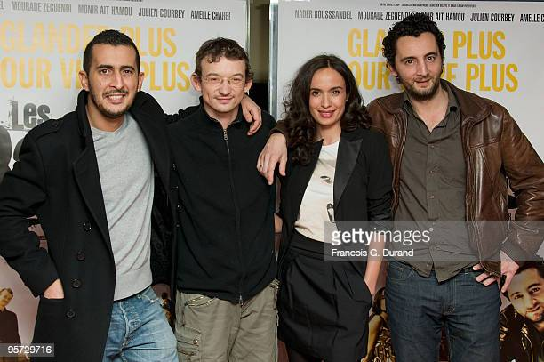 Mourade Zeguendi Julien Courbey Amelle Chahbi and Nader Boussandel attend Les Barons Paris Premiere at UGC Cine Cite des Halles on January 12 2010 in...
