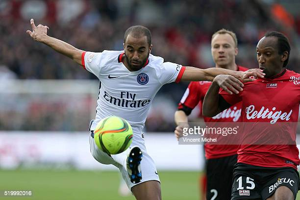 Mouras Lucas of Paris SaintGermain and Jeremy Sorbon of Guingamp during the French League 1 match between EA Guingamp and Paris SaintGermain on April...