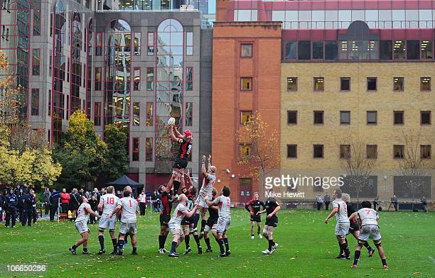 Mouritz Botha of Saracens wins a lineout during the friendly match between Saracens and USA at the Honourable Artillery Company on November 9 2010 in...