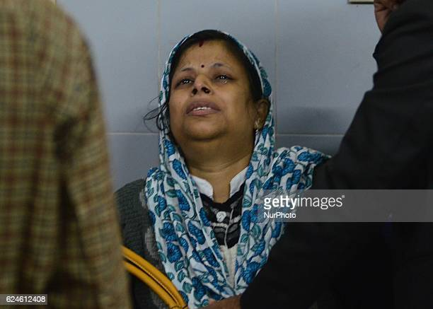 Mourn relative of a train accident victim cries in district hospital in pukhrayan village some 60 kms from Kanpur on November 202016 Indore Patna...