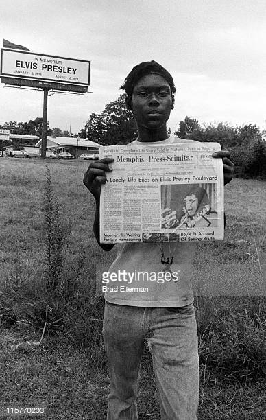 Mourner at Elvis Presley's funeral on August 18 1977 in Memphis Tennessee