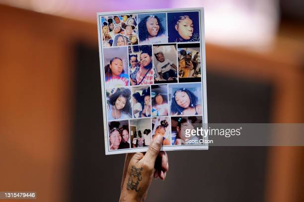 Mourner holds up a funeral program during services for 16-year-old Ma'Khia Bryant at First Church of God on April 30, 2021 in Columbus, Ohio. Bryant...