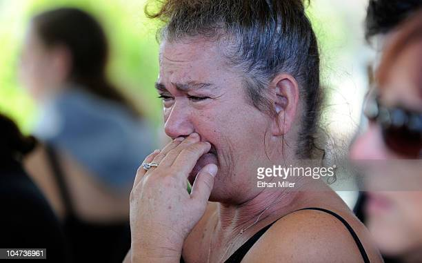 Mourner Linda Raffail of Nevada cries during the funeral for actor Tony Curtis at Palm Mortuary Cemetary October 4 2010 in Henderson Nevada Curtis...