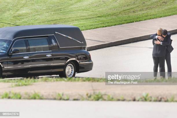 Mourners arrive for the funeral of Antwon Rose II on Monday June 25 2018 at the Woodland Hills Intermediate School in Swissvale Pa Rose was killed by...