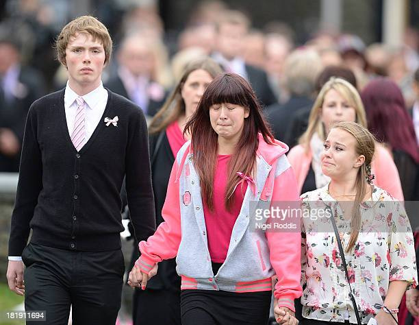 Mourners arrive for the funeral service of murdered schoolgirl April Jones at St Peter's Church on September 26 2013 in Machynlleth Wales Local man...