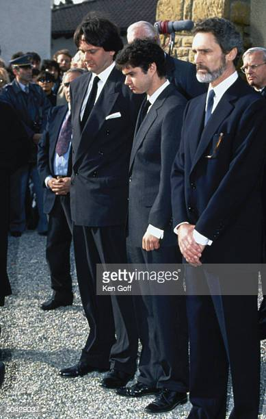 Mourners at funeral of Audrey Hepburn including former husband Andrea Dotti companion Robert Wolders sons Luca Sean Ferrer