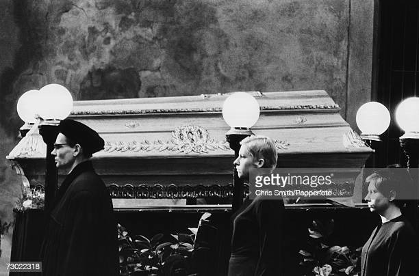 Mourners at the coffin of Czech student Jan Palach , who committed suicide by self-immolation in protest at the Soviet-led invasion of...