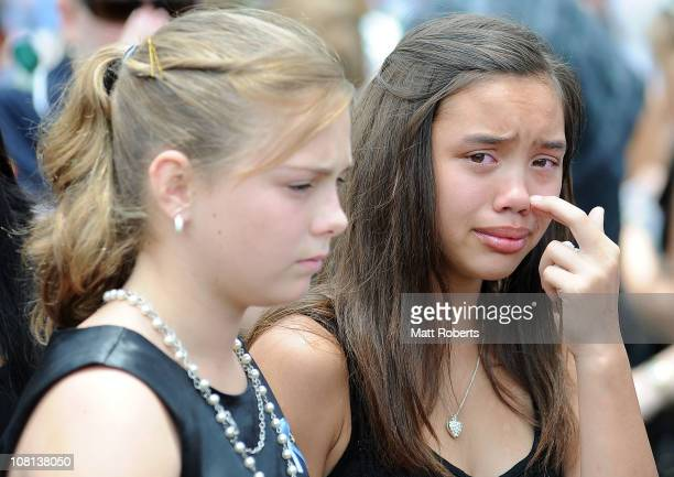 Mourners at the funeral of mother and son killed in last week's flash floods on January 19 2011 in Toowoomba Australia Donna Maree Rice 43 and Jordan...
